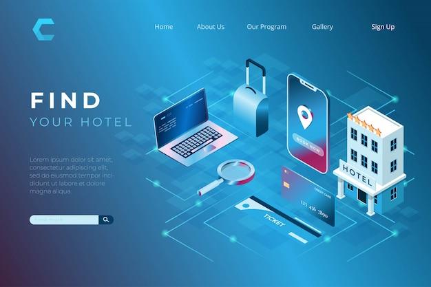 Ilustracja Oprogramowania Do Wyszukiwania Hoteli Dla Podróżnych W Izometrycznym Stylu 3d Premium Wektorów