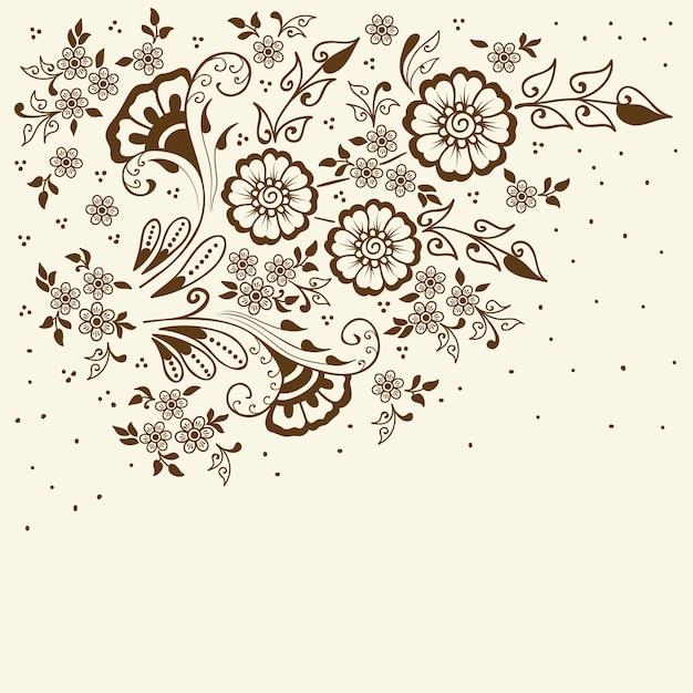 Ilustracja ornament mehndi. tradycyjny indyjski styl, ozdobne elementy kwiatowe Darmowych Wektorów