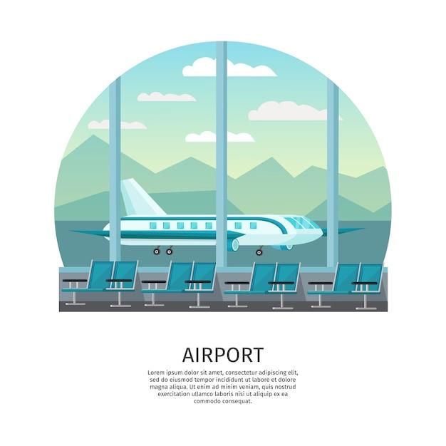 Ilustracja Ortogonalna Wnętrza Lotniska Darmowych Wektorów