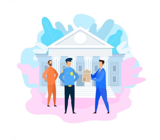 Ilustracja Oskarżonego Więźnia I Prokuratora Premium Wektorów