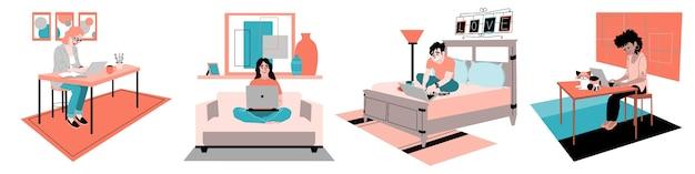 Ilustracja Osób Pracujących Zdalnie Darmowych Wektorów