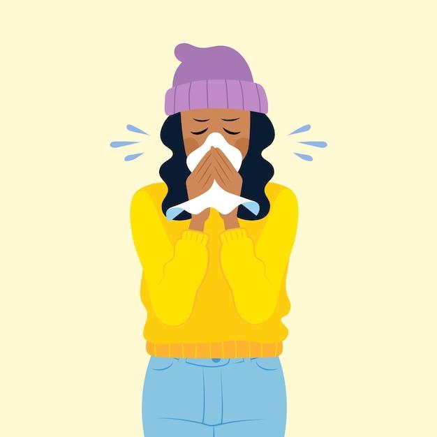 Ilustracja Osoby Z Przeziębieniem Premium Wektorów