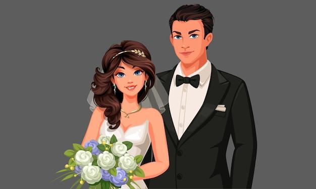 Ilustracja Para Piękny ślub. Premium Wektorów