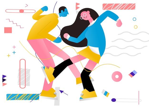 Ilustracja Para Tańczy Premium Wektorów