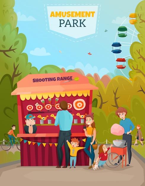 Ilustracja parku rozrywki Darmowych Wektorów