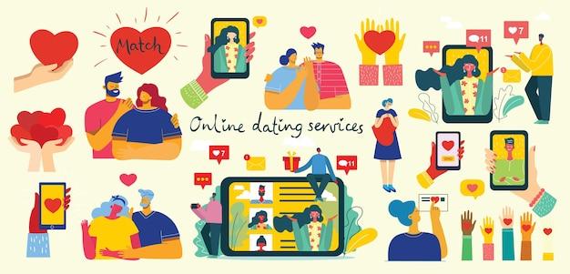 Ilustracja Pary Posiadającej Romans Online Premium Wektorów