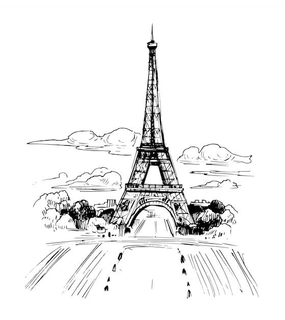 Ilustracja Paryża Z Wieżą Eiffla. Ręcznie Rysowane Tuszem Szkic. Premium Wektorów