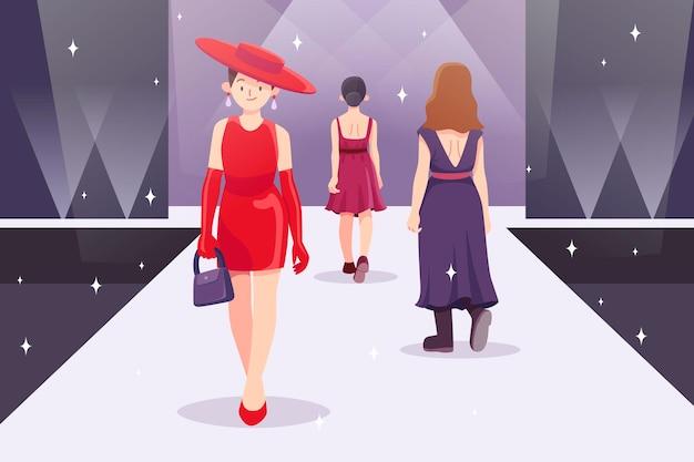 Ilustracja Pas Startowy Pokazu Mody Płaskiej Darmowych Wektorów