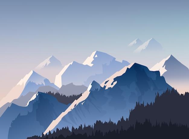 Ilustracja Pasmo Górskie I Szczyty Z Porannym światłem Spowite Mgłą, Tapeta Krajobrazowa Premium Wektorów