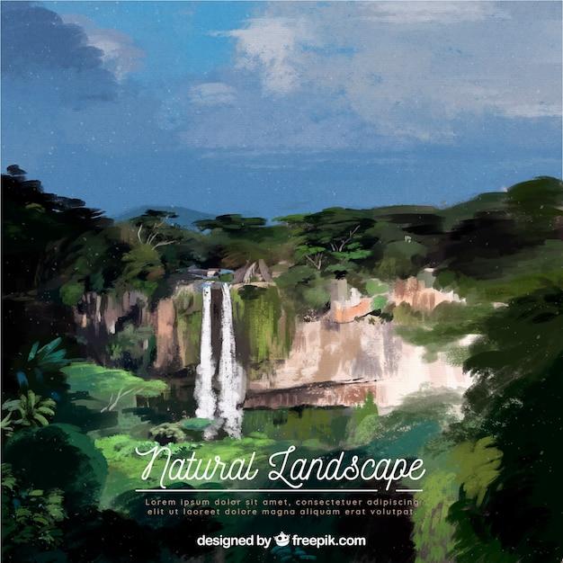 Ilustracja Piękny Naturalny Krajobraz Z Górami Darmowych Wektorów