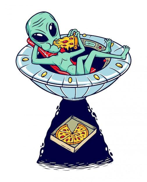 Ilustracja Pizzy Obcych Premium Wektorów