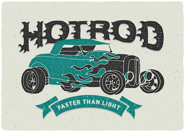 Ilustracja Plakat Rocznika Samochodu Darmowych Wektorów