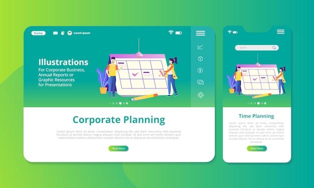 Ilustracja planowania korporacyjnego na ekranie do wyświetlania w internecie lub na urządzeniach mobilnych. Premium Wektorów