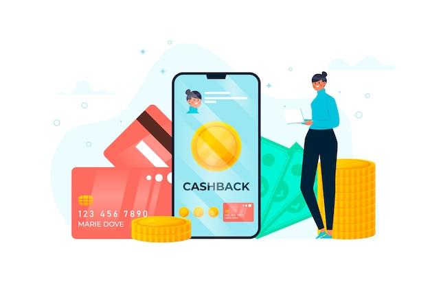 Ilustracja Płaska Konstrukcja Koncepcji Cashback Darmowych Wektorów