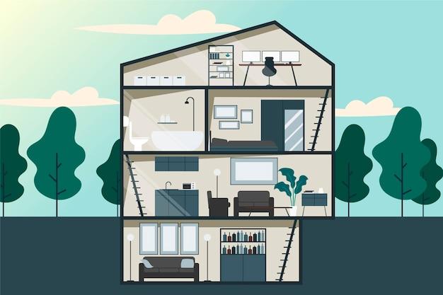 Ilustracja Płaska Konstrukcja Przekroju Domu Darmowych Wektorów