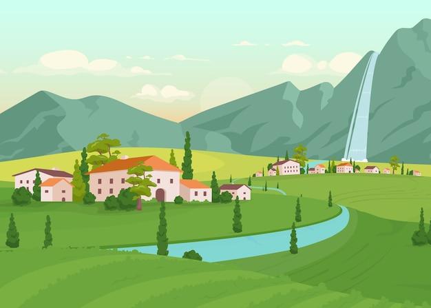 Ilustracja Płaski Kolor Scenerii Toskanii Premium Wektorów