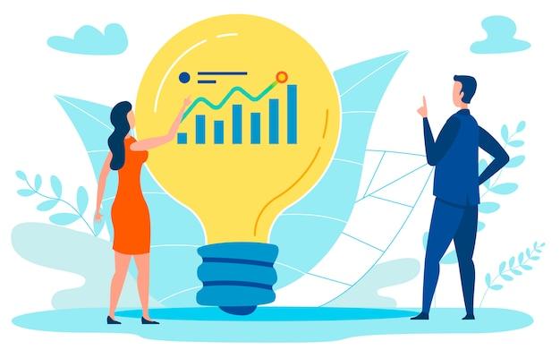 Ilustracja Płaski Plan Wzrostu Finansowego Premium Wektorów