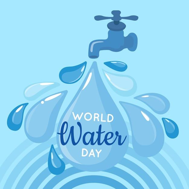 Ilustracja Płaski światowy Dzień Wody Darmowych Wektorów