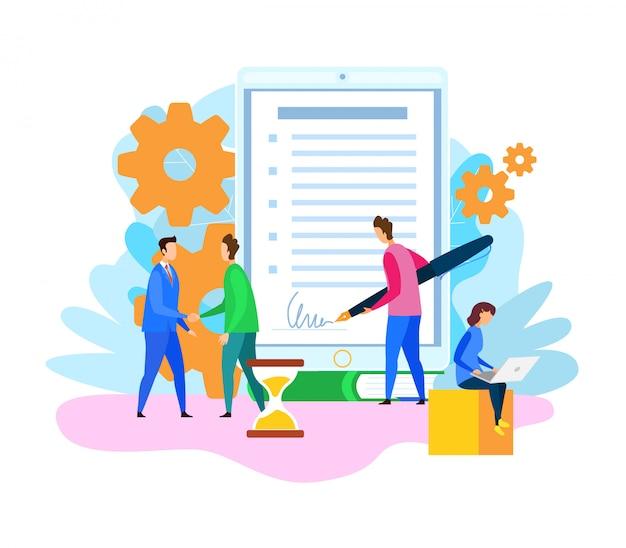 Ilustracja Podpisanie Umowy Partnera Handlowego Premium Wektorów