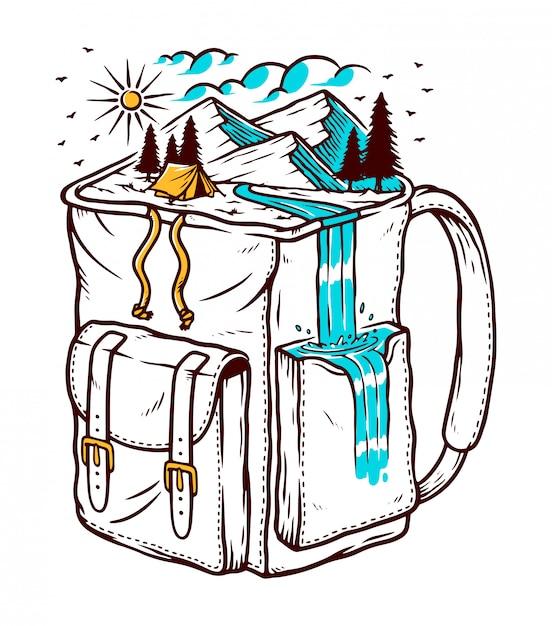 Ilustracja Podróży Backpacker Premium Wektorów