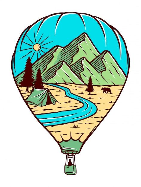 Ilustracja Podróży Balonem Premium Wektorów
