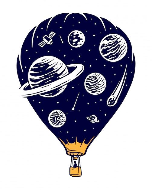 Ilustracja Podróży Kosmicznych Premium Wektorów