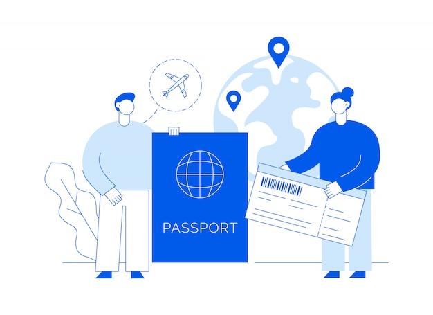 Ilustracja podróży z dużymi współczesnymi ludźmi, mężczyzną i kobietą podróżującymi po całym świecie. Premium Wektorów