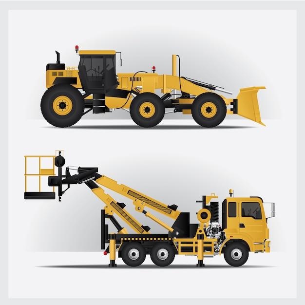 Ilustracja Pojazdów Budowlanych Darmowych Wektorów
