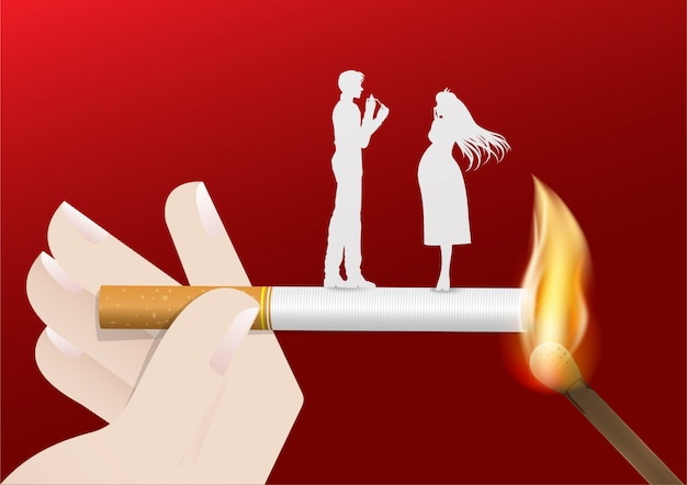 Ilustracja Pojęcie Palenie Zabronione Dnia świat Premium Wektorów