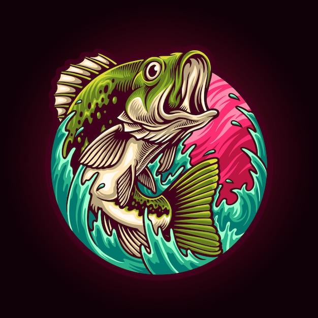 Ilustracja Połowów Big Bass Premium Wektorów