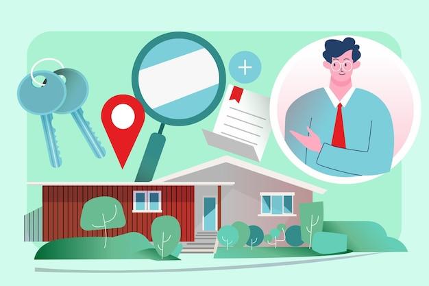 Ilustracja Pomocy Nieruchomości Z Człowiekiem Premium Wektorów