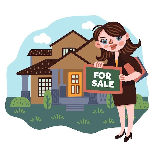 Ilustracja Pomocy Nieruchomości Z Kobietą Darmowych Wektorów