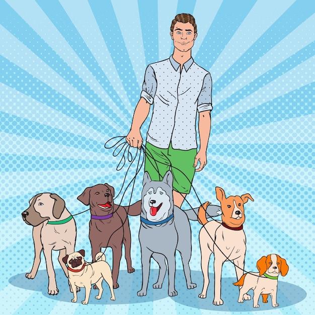 Ilustracja Pop-art Dog Walker Premium Wektorów