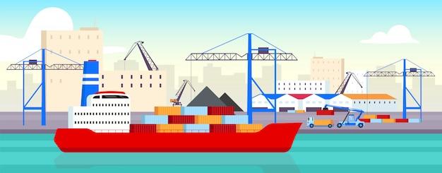 Ilustracja Port Morski Premium Wektorów