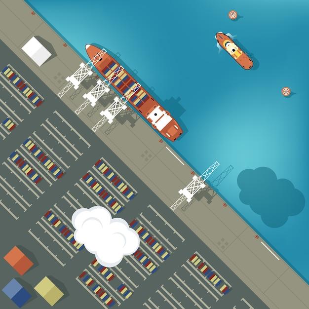 Ilustracja Portu Cargo W Stylu Płaskiej. Widok Z Góry. Premium Wektorów