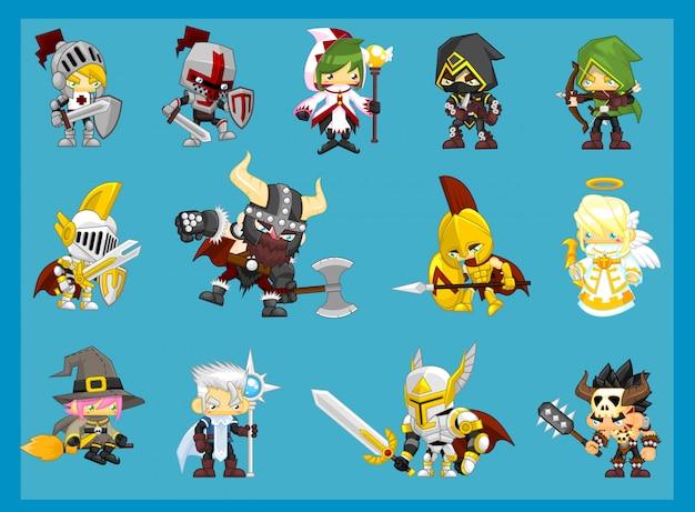 Ilustracja postaci przygodowej fantasy Premium Wektorów