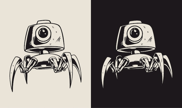 Ilustracja Postaci Robota Cctv Premium Wektorów