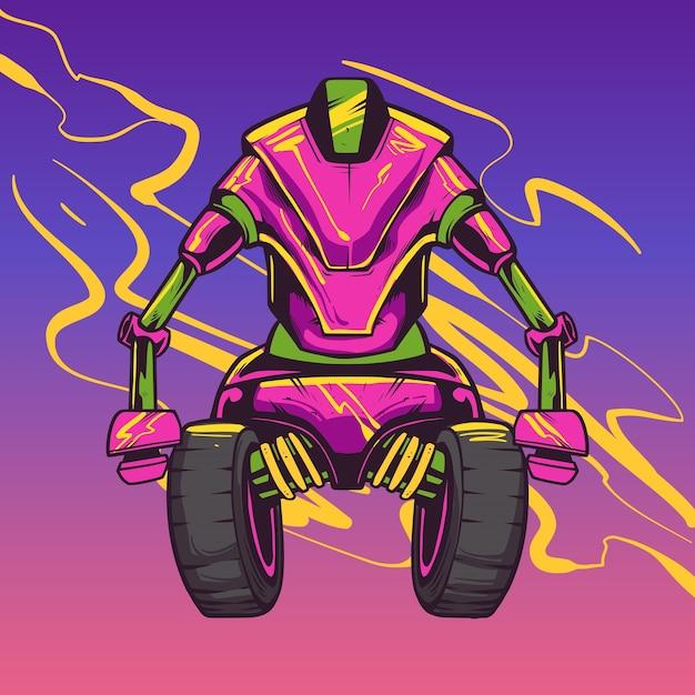 Ilustracja Postaci Robota Różowy Premium Wektorów