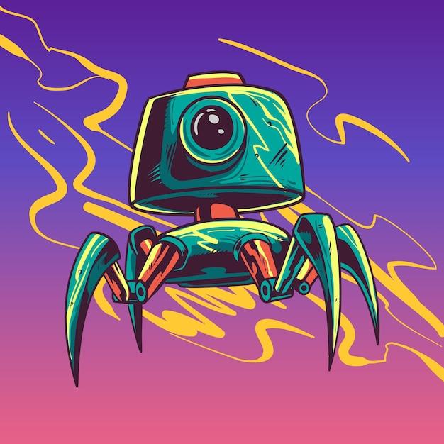 Ilustracja Postaci Robota Zielony Cctv Premium Wektorów