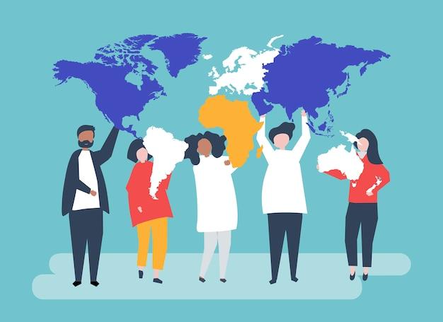 Ilustracja Postaci Różnych Ludzi I świata Darmowych Wektorów