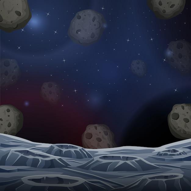 Ilustracja powierzchni asteroidy kosmicznej Premium Wektorów