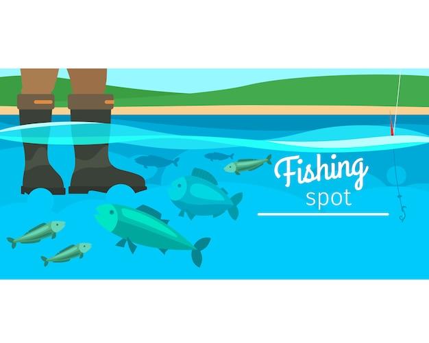 Ilustracja pozioma sport połowów Premium Wektorów