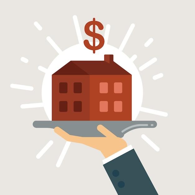 Ilustracja Pożyczki Hipotecznej. Premium Wektorów