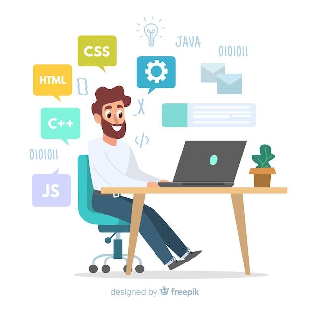 Ilustracja pracuje przy jego biurkiem programista Darmowych Wektorów