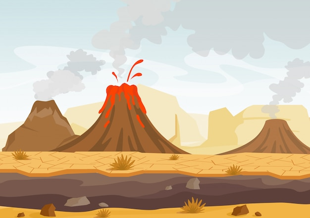 Ilustracja Prehistorycznego Krajobrazu Z Erupcją Wulkanu, Lawy I Zadymionego Nieba, Krajobraz Z Górami I Wulkanami Premium Wektorów