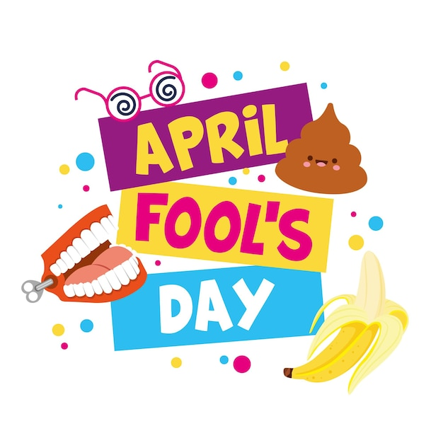 Ilustracja Prima Aprilis Z Emoji I Konfetti. Ilustracja Premium Wektorów