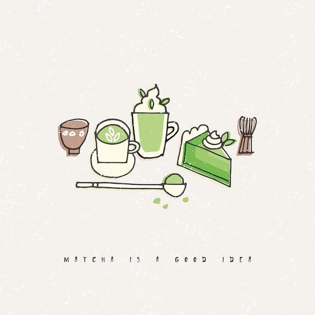 Ilustracja Produktów Herbaty Matcha. Ręcznie Narysować Zestaw Herbaty, Kawy I Słodyczy. Premium Wektorów