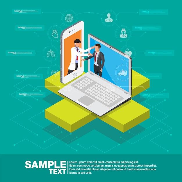 Ilustracja Projektu Izometrycznego Inteligentnego Mobilnego Zdrowia 3d - śledzić Swój Stan Zdrowia Za Pomocą Urządzeń Premium Wektorów