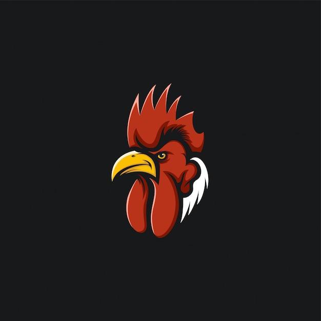 Ilustracja Projektu Logo Głowy Koguta Premium Wektorów