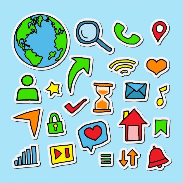 Ilustracja Projektu Naklejki Mediów Społecznościowych Premium Wektorów
